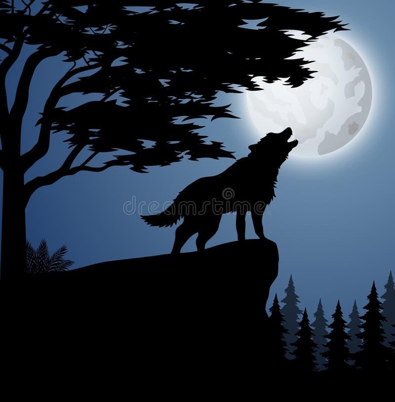 Silhouetwolf in heuvel bij nacht royalty-vrije illustratie