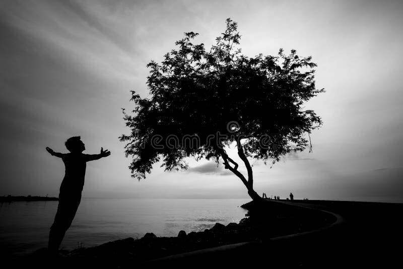 Silhourtte d'homme seul regardant à la mer photo stock