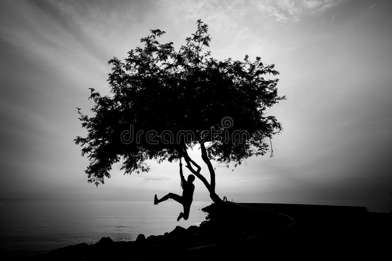 Silhourtte of Lonely man hanging his body. Under the tree royalty free stock images