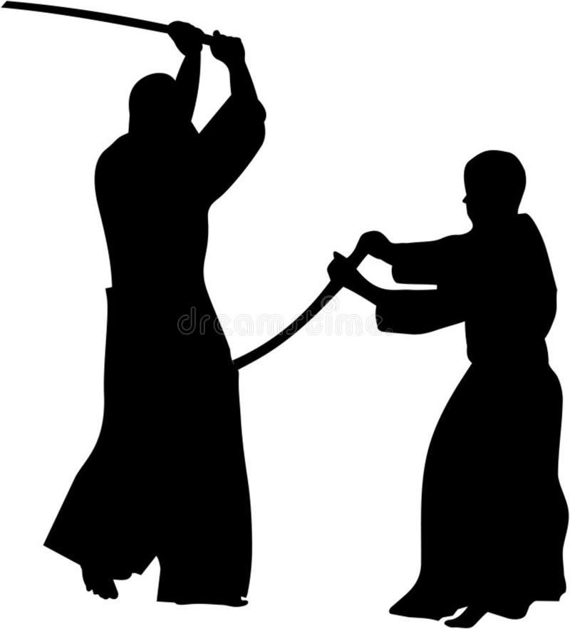 Silhoutette de los combatientes de Kendo stock de ilustración