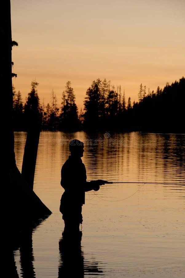 Silhoutette di pesca di mosca fotografia stock