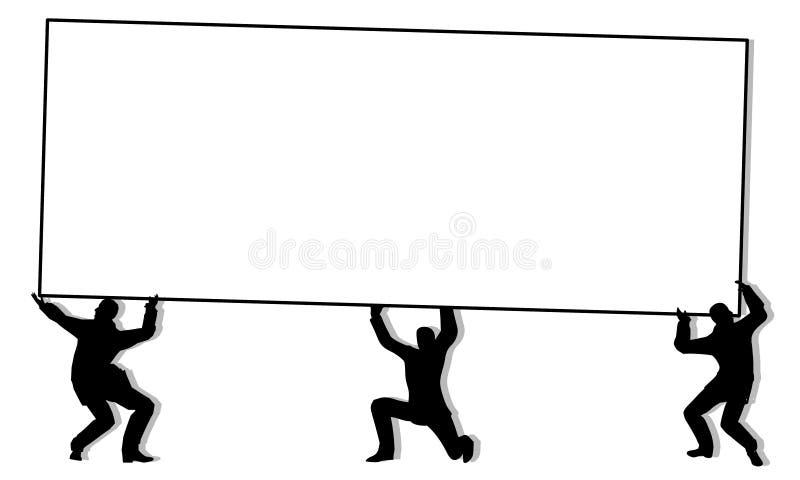 silhoutte знака людей удерживания знамени иллюстрация штока