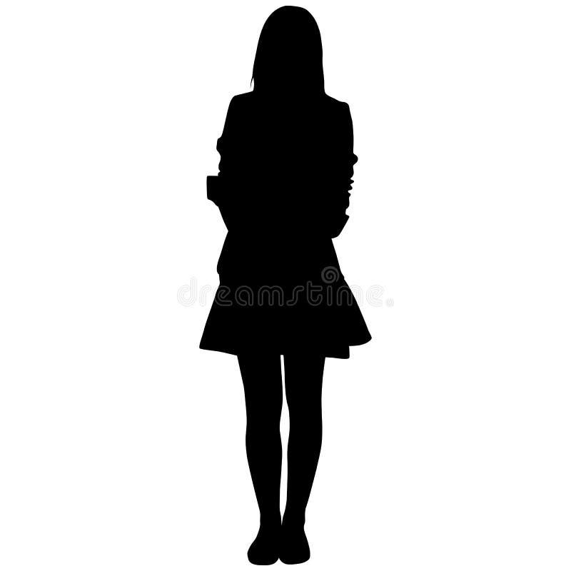 Silhoutte av den stående kvinnan vektor illustrationer