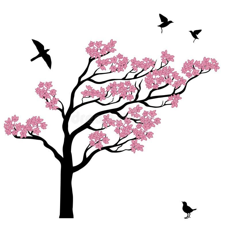 Silhoutte d'arbre de Sakura avec des oiseaux illustration de vecteur