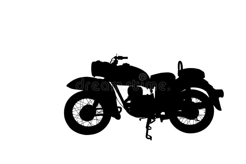 Silhoutte old vintage red motorcycle royalty free stock photos