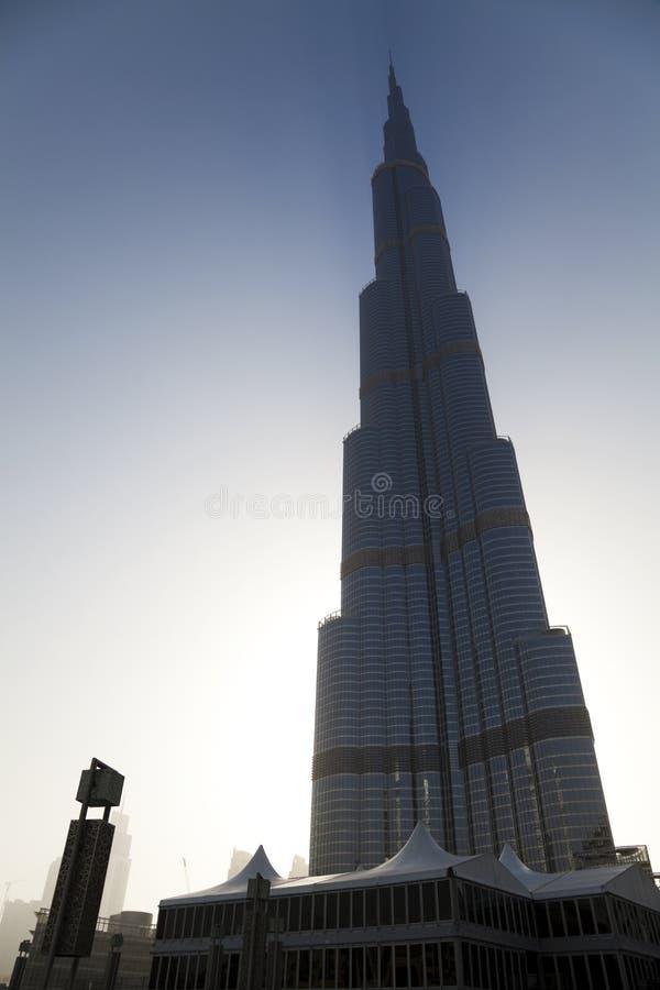 Silhoutte van Burj Doubai, Doubai, de V.A.E stock foto's