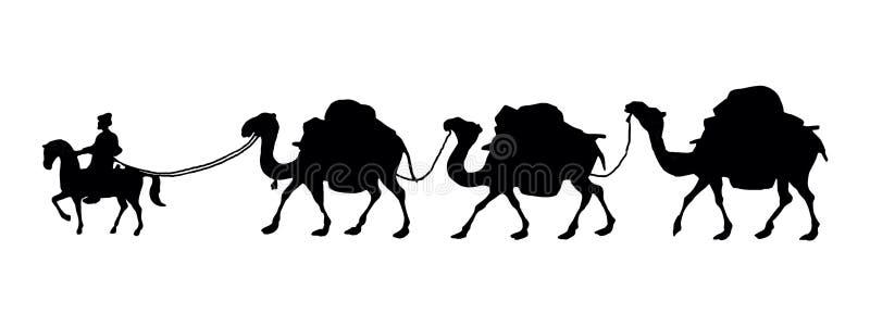 Silhoutte wielbłądzia karawana ilustracja wektor