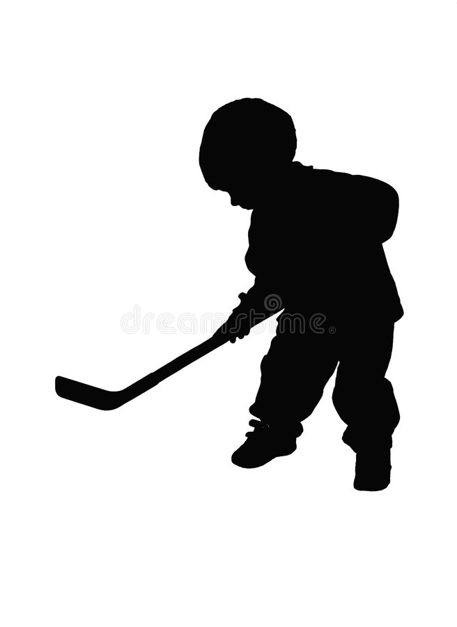 Silhoutted hockey player vector illustration