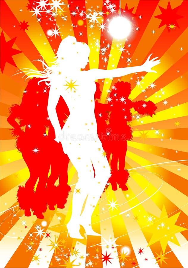 Silhouttes van dansende vrouwen in een disco stock illustratie