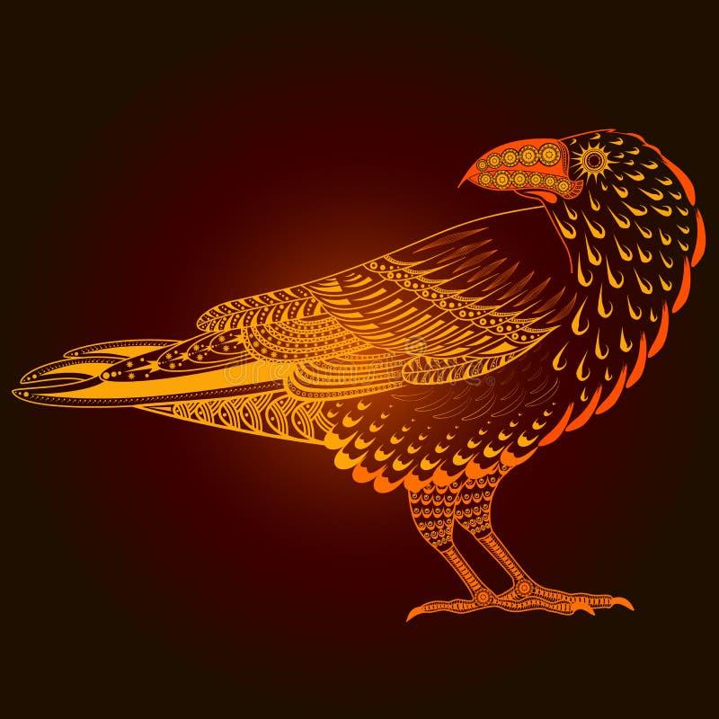Silhueta étnica do corvo ilustração do vetor