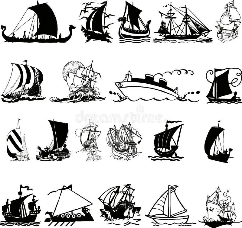 Silhueta 3 do navio (+ vetor) ilustração royalty free