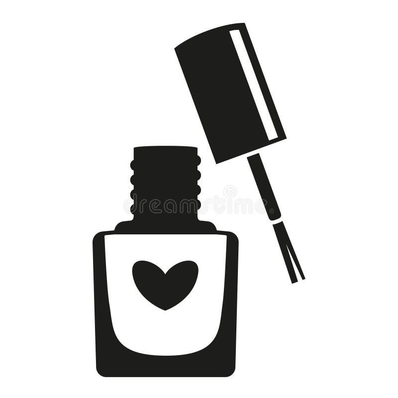 Silhueta aberta preto e branco da garrafa do verniz para as unhas ilustração do vetor