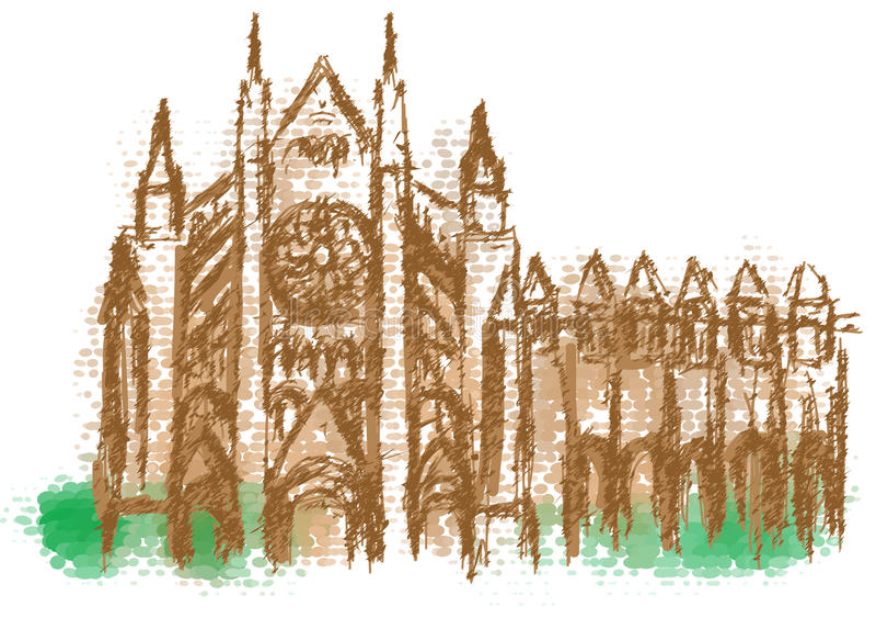 Silhueta abstrata da abadia de Westminster ilustração do vetor