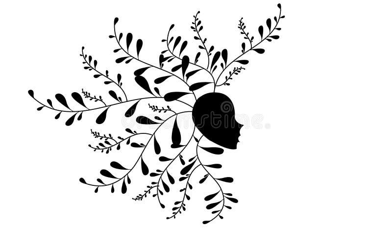 Silhueta abstrata da cabeça humana ilustração do vetor