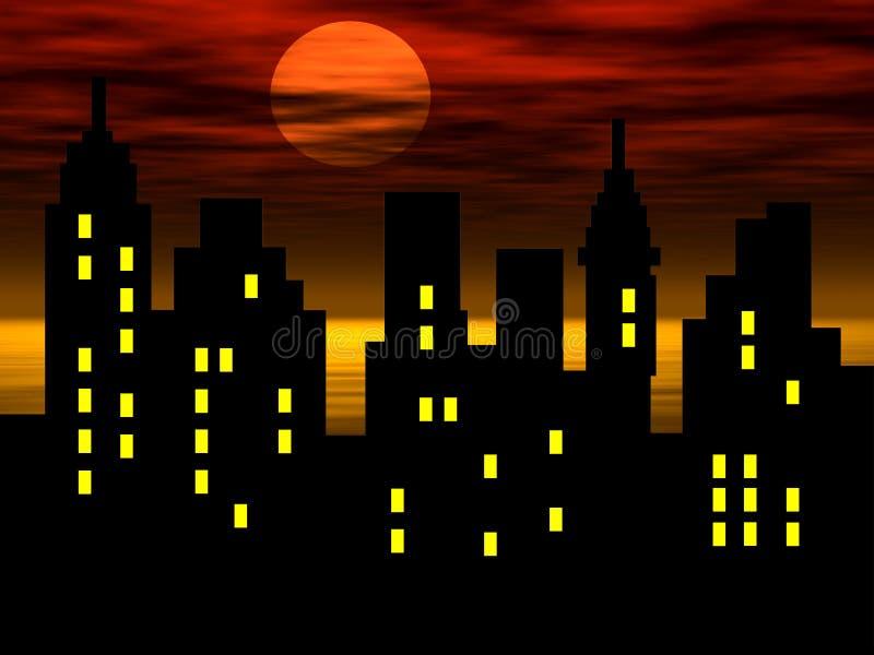 Silhueta abstrata da cidade ilustração stock