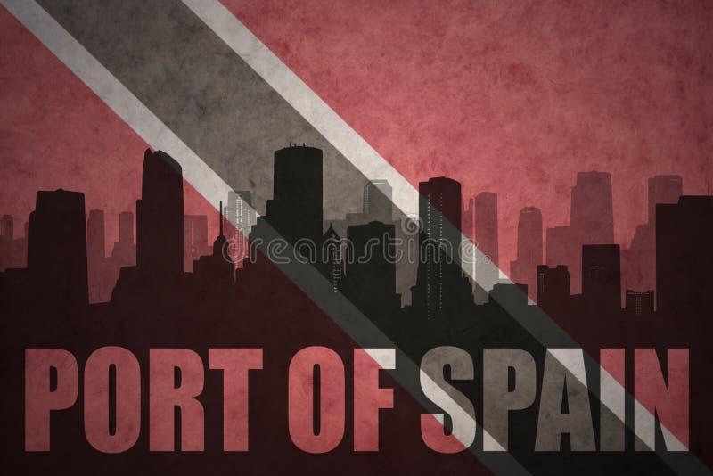 Silhueta abstrata da cidade com porto do texto - de - spain na bandeira de Trinidad and Tobago do vintage ilustração royalty free