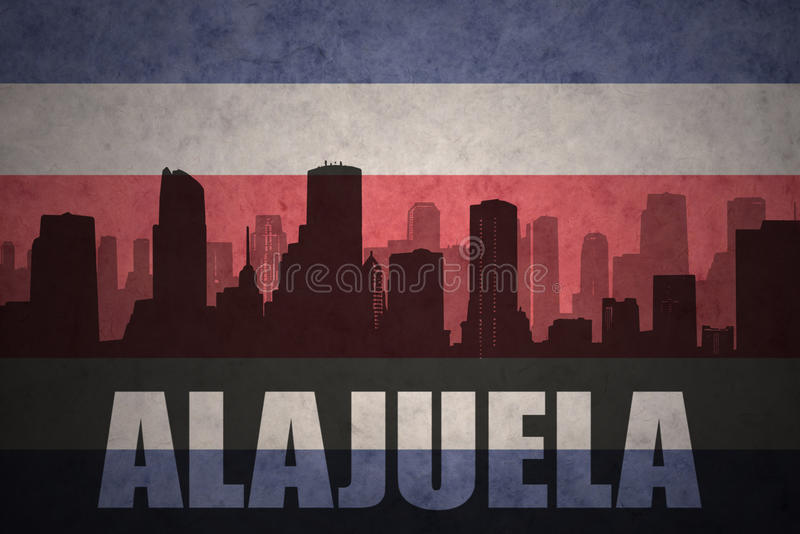 Silhueta abstrata da cidade com texto Alajuela na bandeira rican da costela do vintage ilustração royalty free
