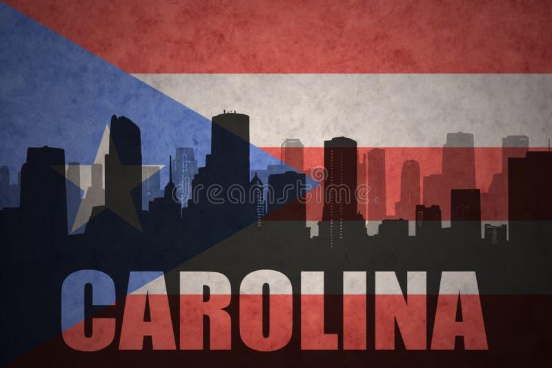 Silhueta abstrata da cidade com texto Carolina na bandeira do porto-riquenho do vintage ilustração do vetor
