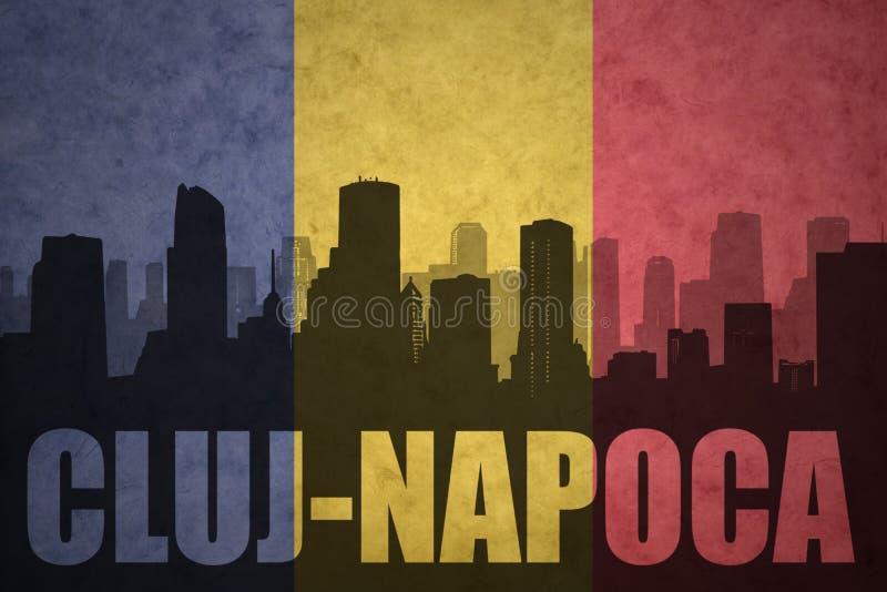 Silhueta abstrata da cidade com texto Cluj-Napoca na bandeira do romanian do vintage fotografia de stock