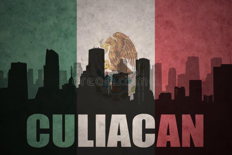 Silhueta abstrata da cidade com texto Culiacan na bandeira mexicana do vintage fotografia de stock