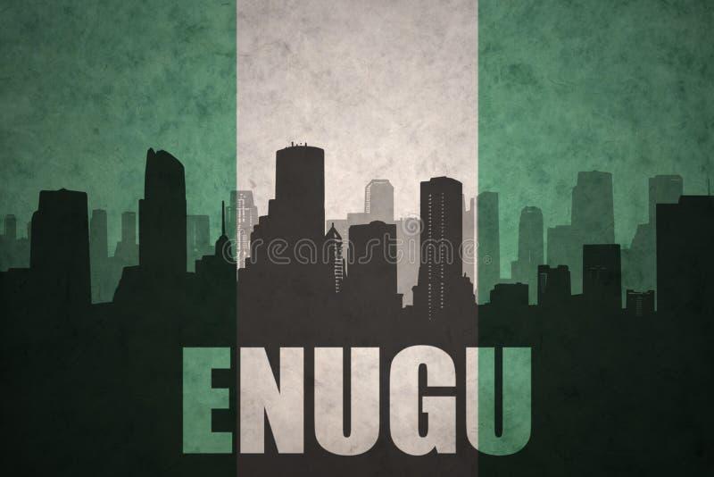 Silhueta abstrata da cidade com texto Enugu na bandeira do nigerian do vintage fotos de stock royalty free