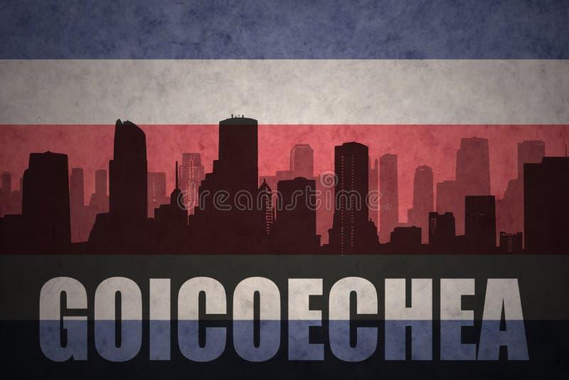 Silhueta abstrata da cidade com texto Goicoechea na bandeira rican da costela do vintage ilustração do vetor