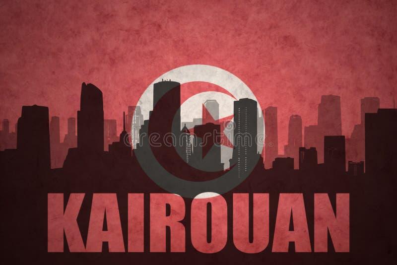 Silhueta abstrata da cidade com texto Kairouan na bandeira do tunisian do vintage imagens de stock royalty free