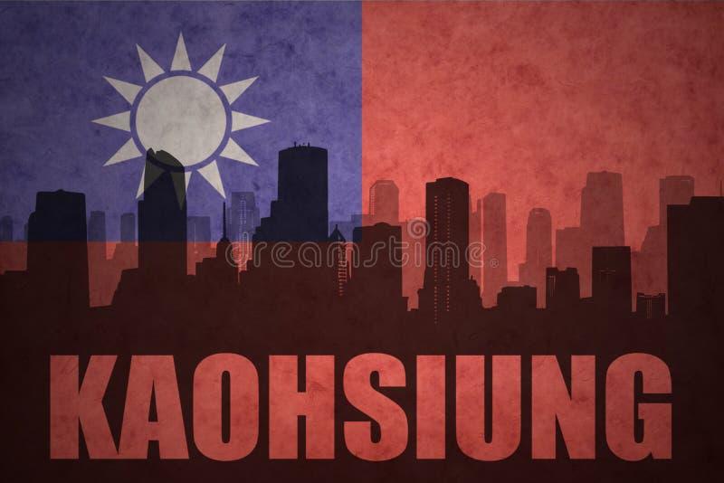Silhueta abstrata da cidade com texto Kaohsiung na bandeira de Formosa do vintage ilustração stock