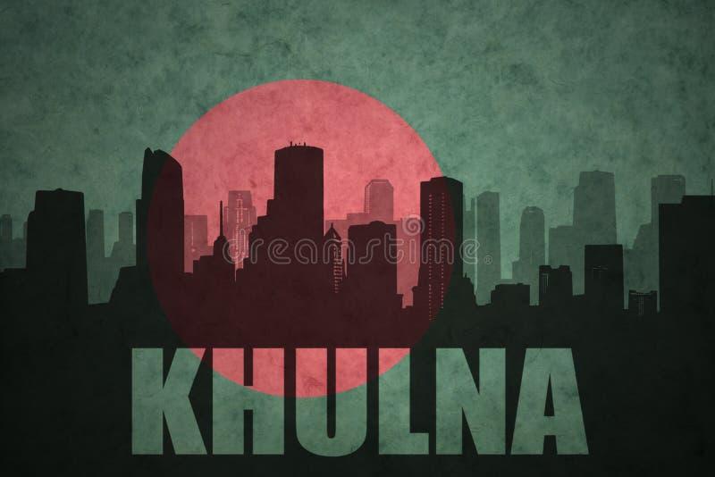 Silhueta abstrata da cidade com texto Khulna na bandeira de bangladesh do vintage foto de stock