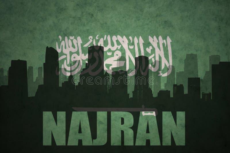 Silhueta abstrata da cidade com texto Najran na bandeira de Arábia Saudita do vintage foto de stock