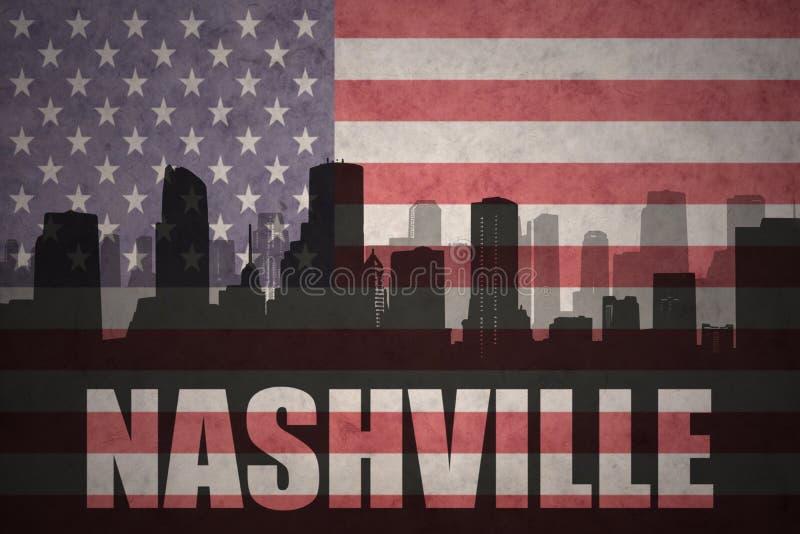 Silhueta abstrata da cidade com texto Nashville na bandeira americana do vintage ilustração royalty free