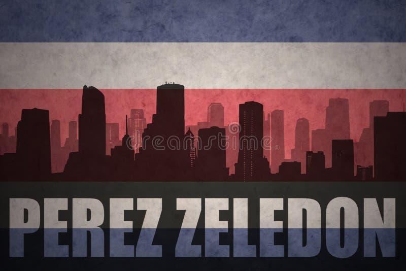 Silhueta abstrata da cidade com texto Perez Zeledon na bandeira rican da costela do vintage ilustração do vetor