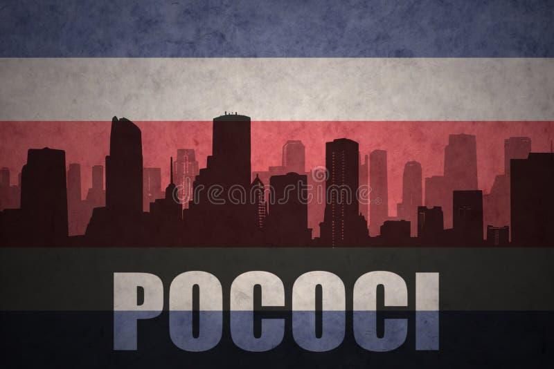 Silhueta abstrata da cidade com texto Pococi na bandeira rican da costela do vintage ilustração royalty free