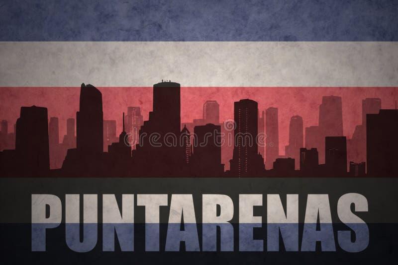 Silhueta abstrata da cidade com texto Puntarenas na bandeira rican da costela do vintage ilustração royalty free