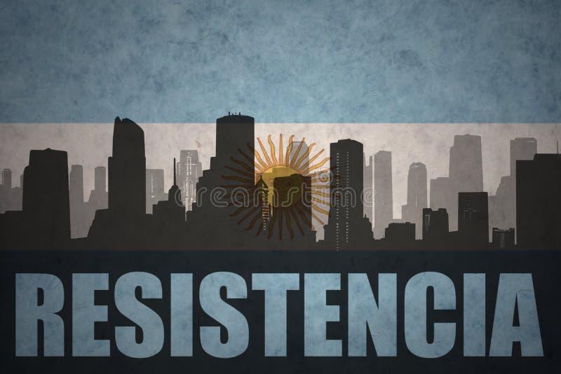 Silhueta abstrata da cidade com texto Resistencia na bandeira do argentino do vintage foto de stock