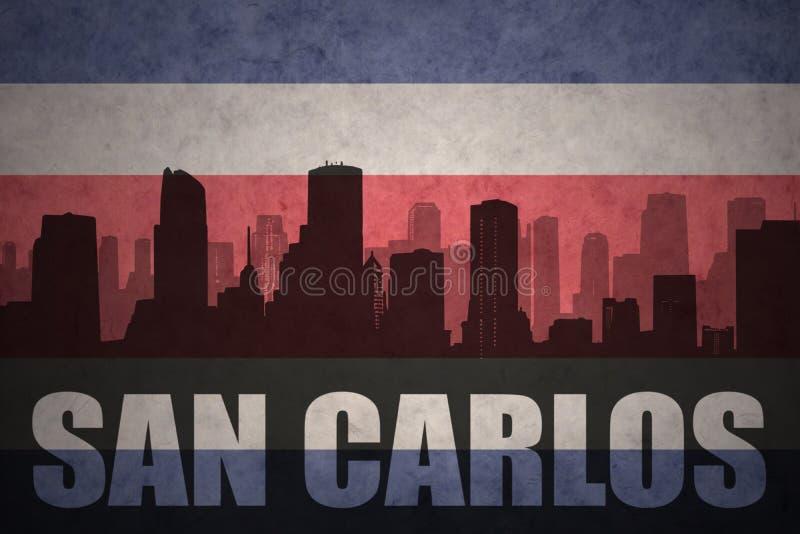 Silhueta abstrata da cidade com texto San Carlos na bandeira rican da costela do vintage ilustração stock