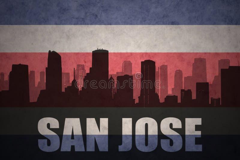 Silhueta abstrata da cidade com texto San Jose na bandeira rican da costela do vintage ilustração stock