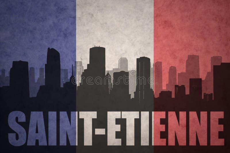 Silhueta abstrata da cidade com texto St Etienne na bandeira do francês do vintage ilustração royalty free