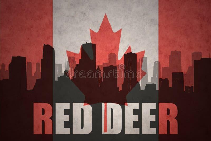 Silhueta abstrata da cidade com veados vermelhos do texto na bandeira do canadense do vintage ilustração royalty free