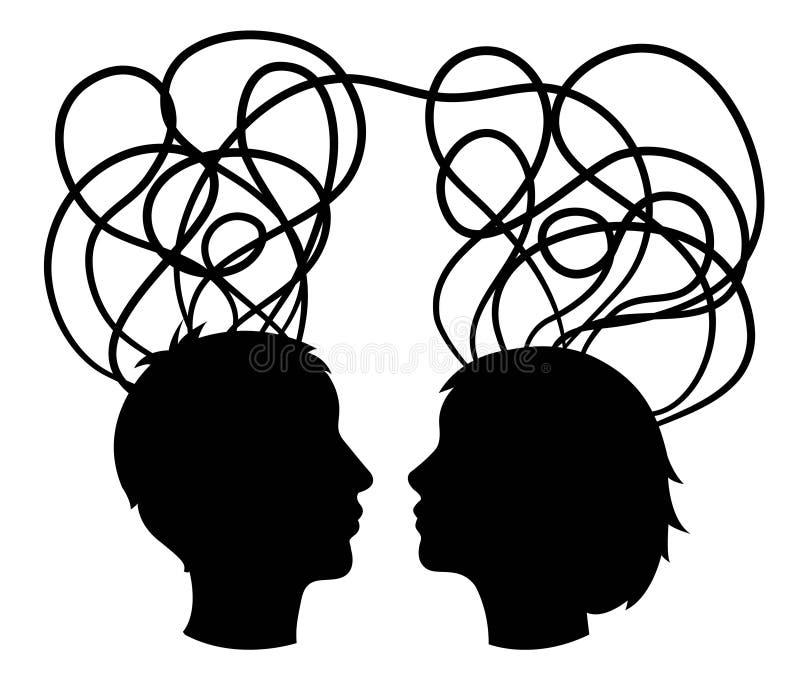 A silhueta abstrata das cabeças dos pares, pensa o conceito, ilustração royalty free