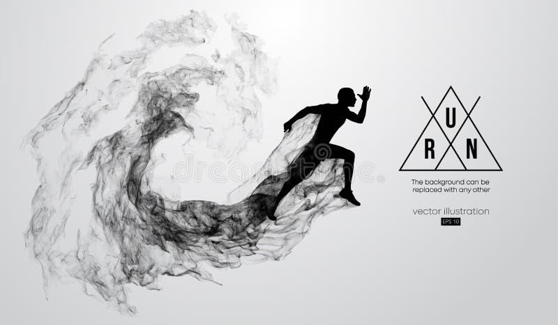 Silhueta abstrata de um homem de corrida do atleta no fundo branco O atleta corre a sprint e a maratona Ilustração do vetor ilustração do vetor
