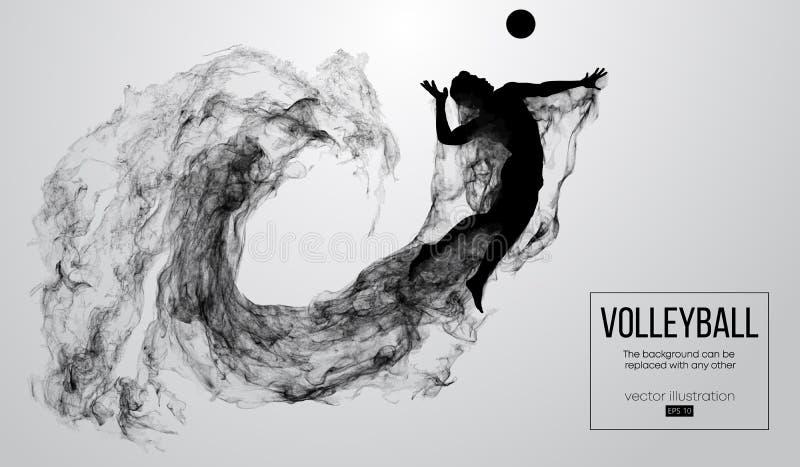 Silhueta abstrata de um homem do jogador de voleibol no fundo branco das partículas Ilustração do vetor