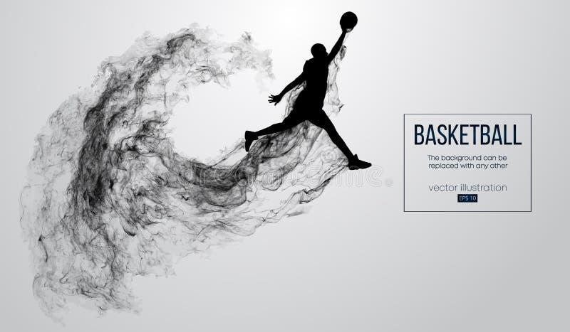 Silhueta abstrata de um jogador de basquetebol no fundo branco O jogador de basquetebol que salta e executa o afundanço ilustração royalty free