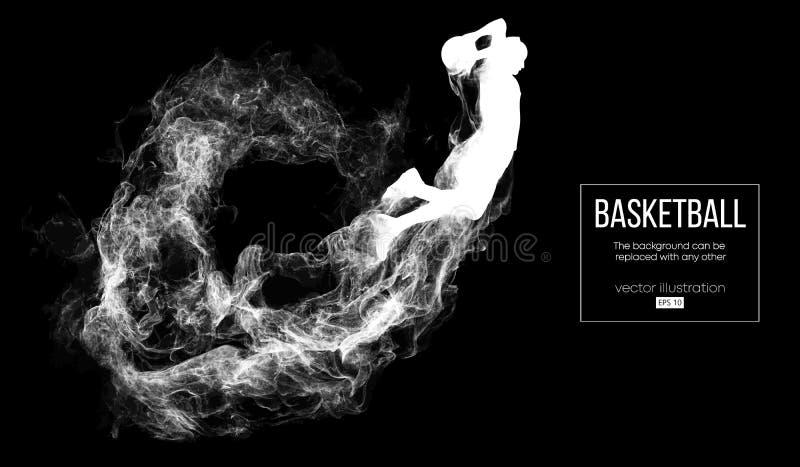 Silhueta abstrata de um jogador de basquetebol no fundo preto escuro O jogador de basquetebol que salta e executa o afundanço ilustração royalty free