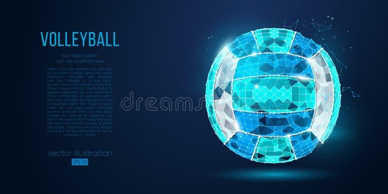 Silhueta abstrata de uma bola do voleibol das partículas, das linhas e dos triângulos no fundo azul Luz de néon Vetor ilustração do vetor