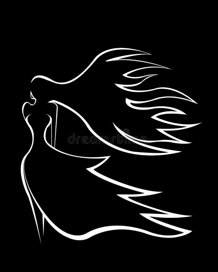 Silhueta abstrata de uma menina graciosa com voo do cabelo no vento imagens de stock