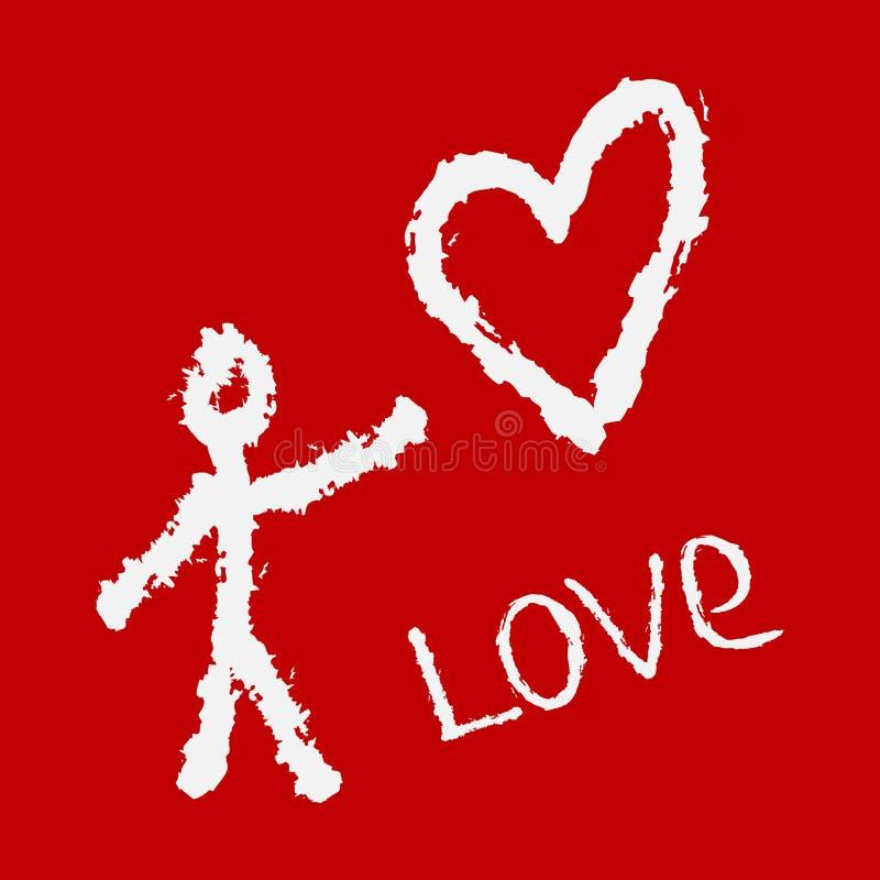 A silhueta abstrata do homem, o coração e a escrita amam ilustração do vetor