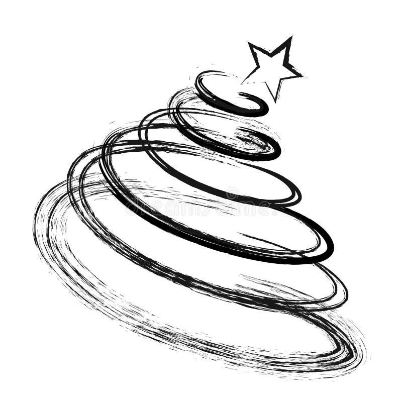 Silhueta abstrata do preto da árvore de abeto do Natal do desenho com esboço ilustração royalty free