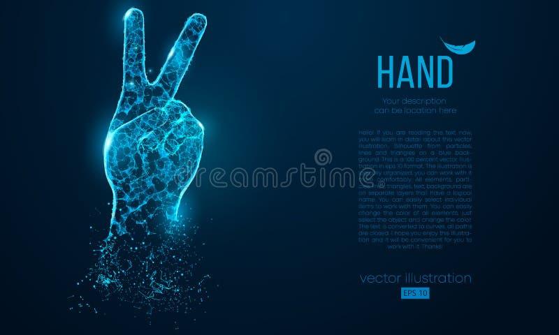 Silhueta abstrata dos dedos de uma mão dois, triângulos das partículas do símbolo da vitória no fundo azul Ilustração do vetor ilustração stock