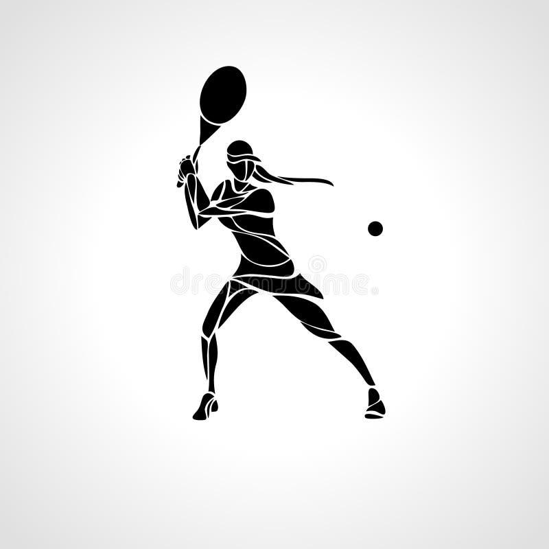 Silhueta abstrata estilizado do vetor da fêmea do jogador de tênis fotos de stock royalty free